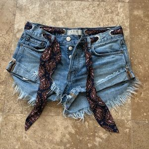 Free People Sashed n Relaxed Denim Shorts